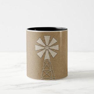 Caneca De Café Em Dois Tons País rústico do moinho de vento da fazenda de