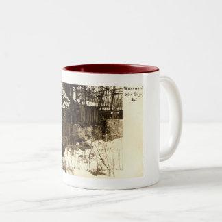 Caneca De Café Em Dois Tons Roda de água, vale Ridge, vintage 1905 de NJ