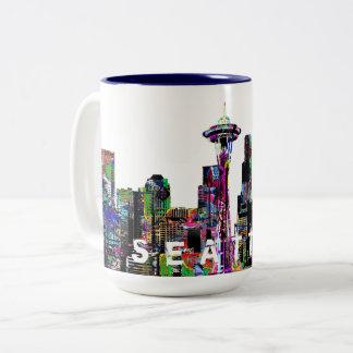 Caneca De Café Em Dois Tons Seattle nos grafites