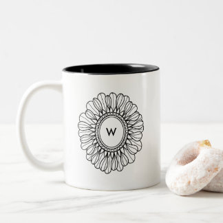 Caneca De Café Em Dois Tons Solteiro da flor