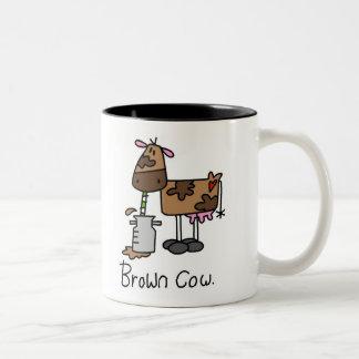 Caneca De Café Em Dois Tons T-shirt e presentes da vaca de Brown