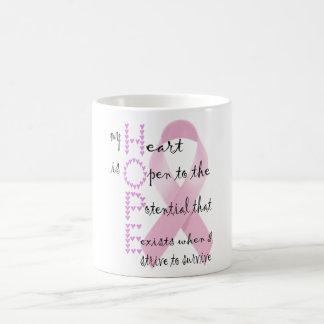 Caneca De Café Esperança do coração lutar contra o cancer