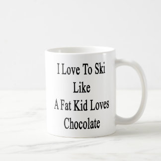 Caneca De Café Eu amo esquiar como um chocolate dos amores do