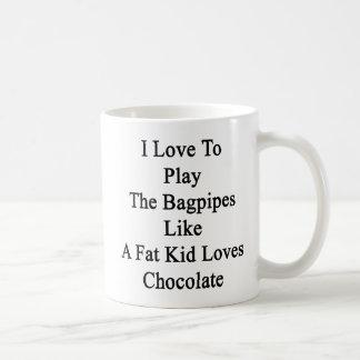 Caneca De Café Eu amo jogar os Bagpipes como os amores C de um