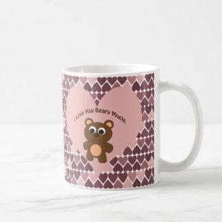 Caneca De Café Eu te amo Beary muito! Fundo do coração