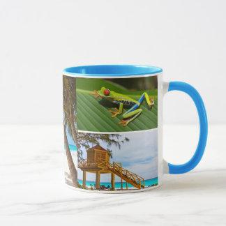 Caneca de café exótica da colagem da foto das