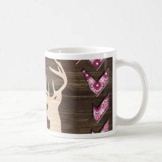 Caneca De Café Fanfarrão de madeira cor-de-rosa dos cervos de
