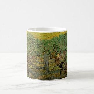 Caneca De Café Figuras da colheita do bosque verde-oliva de Van