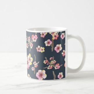 Caneca De Café Flor de cerejeira do marinho floral