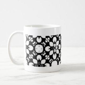 Caneca De Café Flor tradicional preto e branco