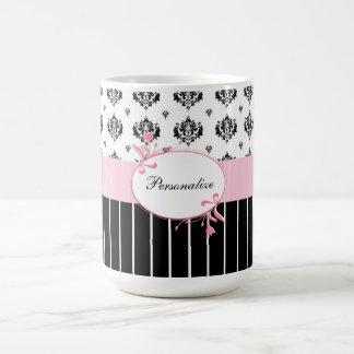 Caneca De Café Floral cor-de-rosa chique do damasco preto e