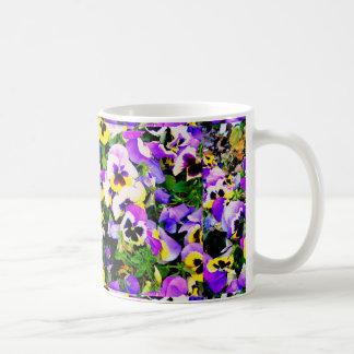 Caneca De Café flores do amor perfeito da multi-cor