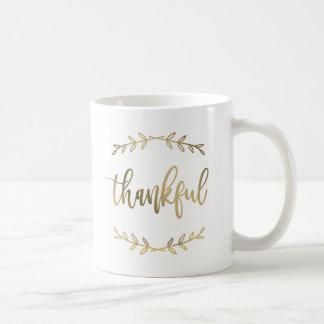 Caneca De Café Folha de ouro bonito abençoada e grata do falso da