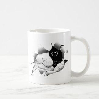 Caneca De Café Gato preto e branco curioso do gatinho