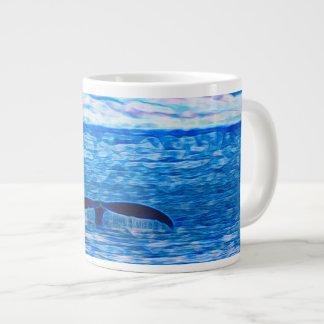 Caneca De Café Gigante Fractal da cauda da baleia azul e cor-de-rosa