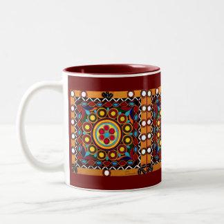 Caneca de café global Bordado-Exótica do azulejo