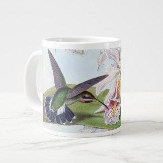 Caneca De Café Grande A orquídea dos animais dos pássaros do colibri
