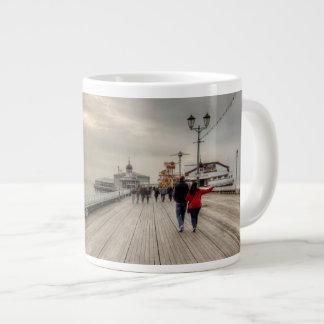 Caneca De Café Grande Cais litoral cénico Reino Unido de Blackpool da