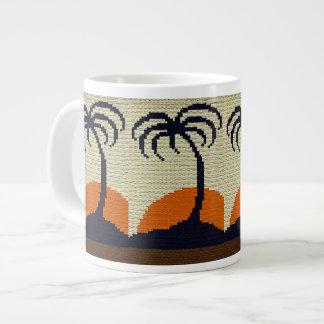 Caneca De Café Grande Palmeiras tropicais com Crochet alaranjado do por