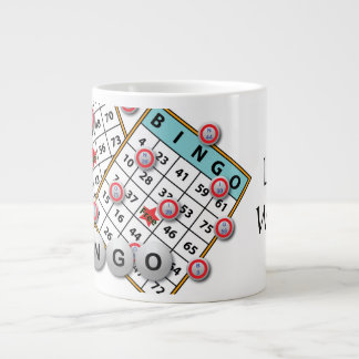 Caneca De Café Grande Tema afortunado do Bingo