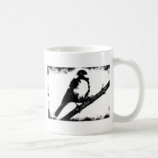 Caneca De Café Imagem preto e branco do pássaro