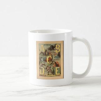 Caneca De Café Impressão do alfabeto do vintage - ABCDE