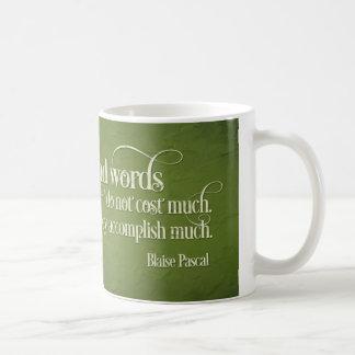 """Caneca de café inspirador: """"Palavras amáveis ....."""