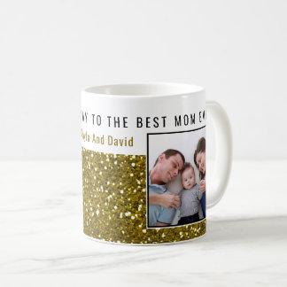 Caneca De Café Mamã da foto do brilho do ouro a melhor nunca