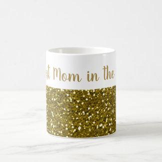 Caneca De Café Mamã do brilho do ouro a melhor no mundo