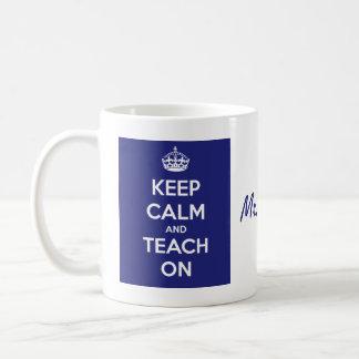 Caneca De Café Mantenha a calma e ensine-a no azul