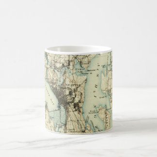 Caneca De Café Mapa de Seattle do vintage
