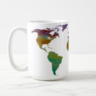 Caneca De Café Mapa do mundo de Colorwashed