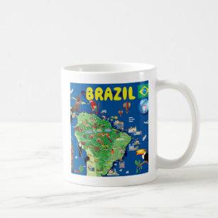 Caneca De Café Mapa dos desenhos animados de Brasil