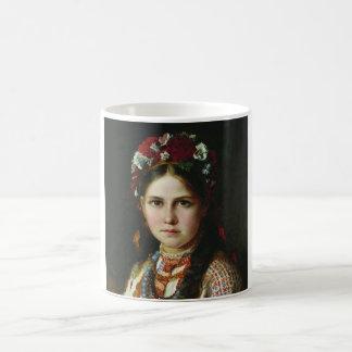Caneca De Café Menina do ucraniano do vintage
