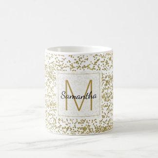 Caneca De Café Monograma chique dos confetes do ouro