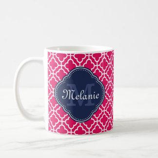 Caneca De Café Monograma marroquino branco cor-de-rosa do marinho