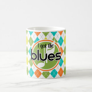 Caneca De Café Música dos azuis; Teste padrão colorido de Argyle