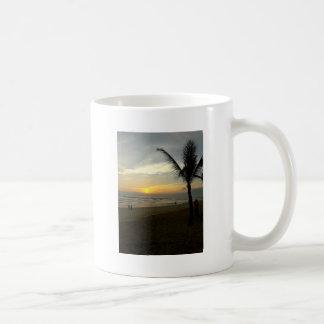 Caneca De Café Nascer do sol da praia com palmeira