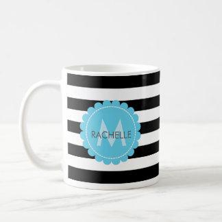 Caneca De Café Nome azul preto, branco, listrado do monograma da