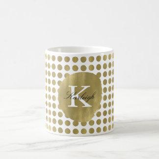 Caneca De Café O ouro chique pontilha o monograma