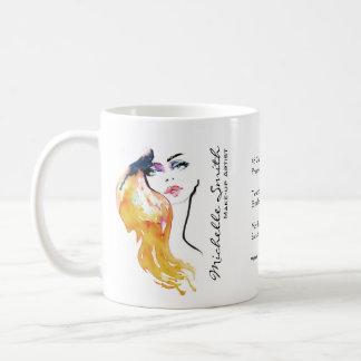 Caneca De Café O retrato da mulher da aguarela compo a marcagem