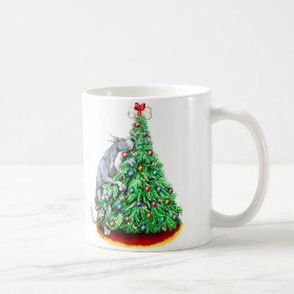 Caneca De Café Objetivos do alcance do Natal de great dane azuis
