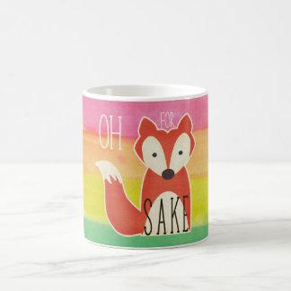 Caneca De Café Oh para listras da aguarela da causa do Fox