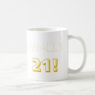 Caneca De Café Partido de aniversário de 21 anos branco e preto