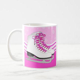 Caneca De Café Patinagem artística - rosa dos skates de gelo com