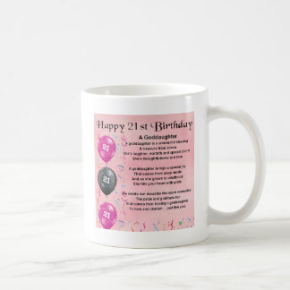 Caneca De Café Poema do Goddaughter - design do aniversário de 21