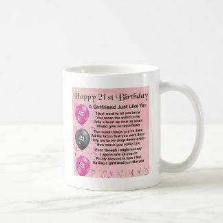 Caneca De Café Poema do namorada - design do aniversário de 21