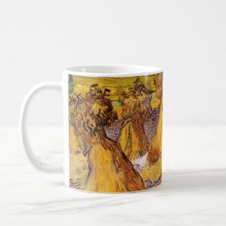 Caneca De Café Polias de Van Gogh do trigo, belas artes do