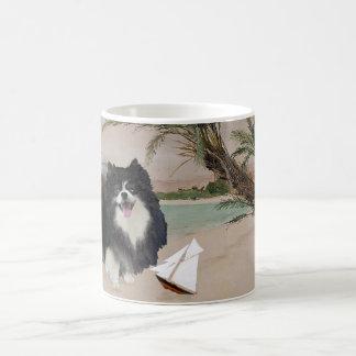 Caneca De Café Pomeranian preto com veleiro