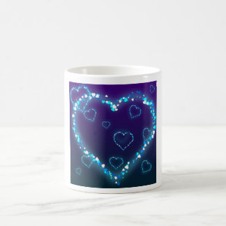 Caneca De Café Presente azul do amor do coração de Bling do